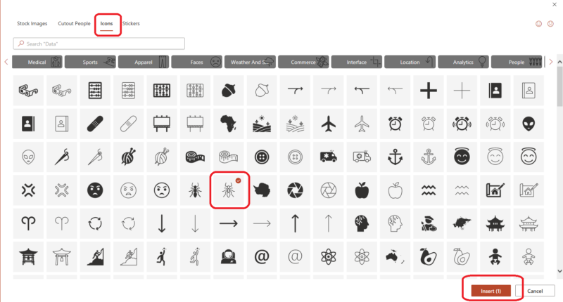 Large selection of Icons now available in PowerPoint 365